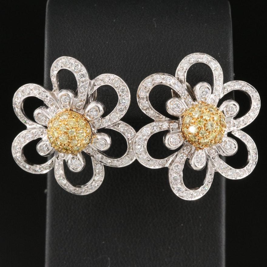18K 3.15 CTW Diamond Floral Earrings