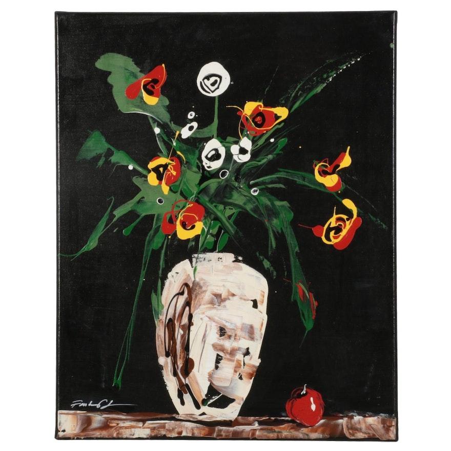 Farshad Lanjani Vase of Flowers Still Life Oil Painting, 21st Century