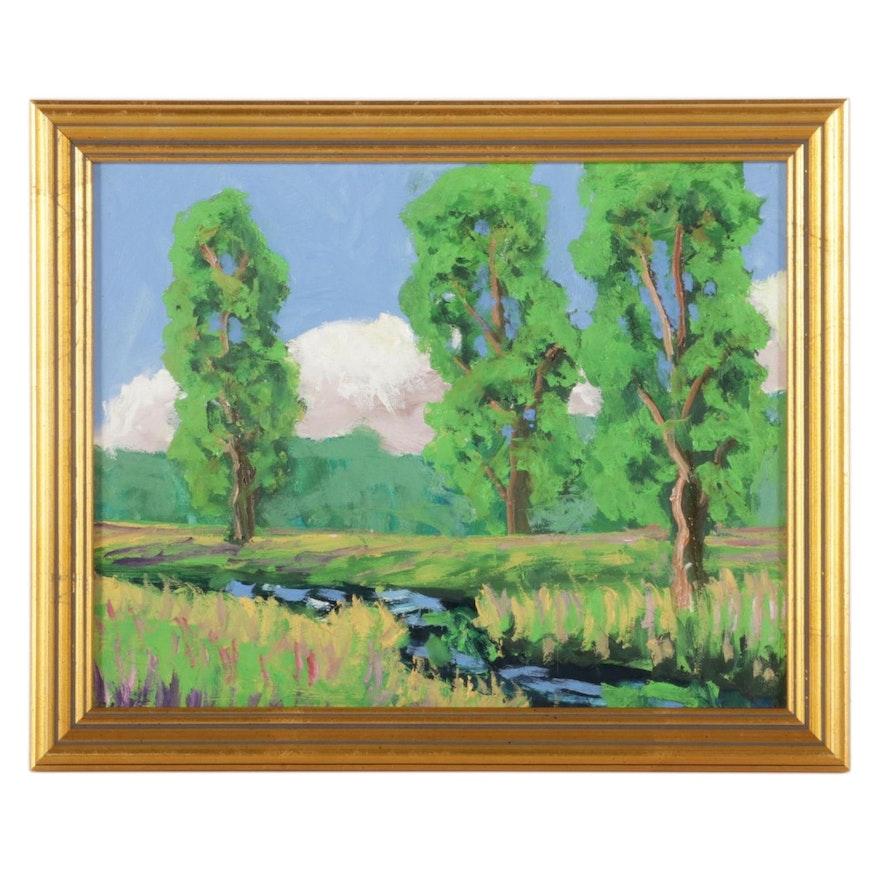 Kenneth R. Burnside Creekside Landscape Oil Painting, 21st Century