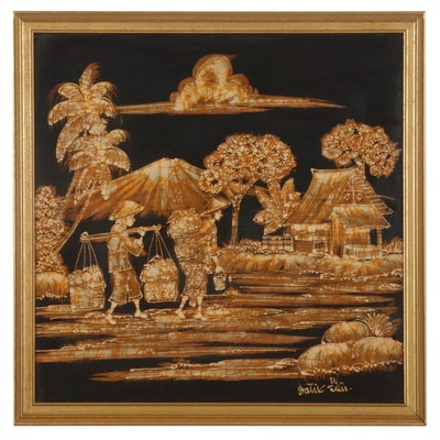 Batik of Farmers Carrying Harvest, Circa 2000
