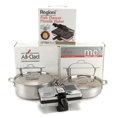 All-Clad Master Chef Stockpot and Sauteuse with Regioni Pizzelle Baker