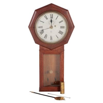New Heaven Clock Co. Mahogany Wall Mount Pendulum Clock