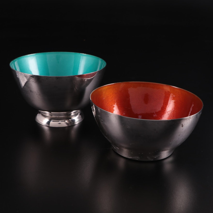 Towle  Sterling Silver Bowls and Enamel Bowls, Late 20th Century