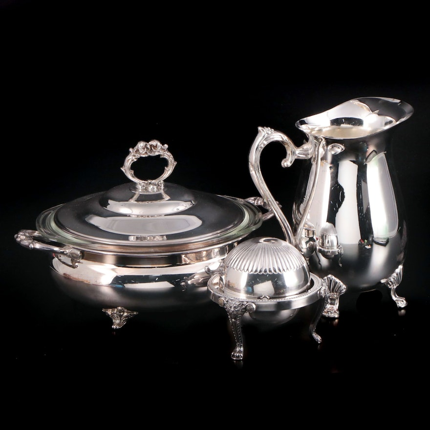 English Silver Mfg. Co. Silver Plate Serving Bowl with Pitcher and Butter Dish