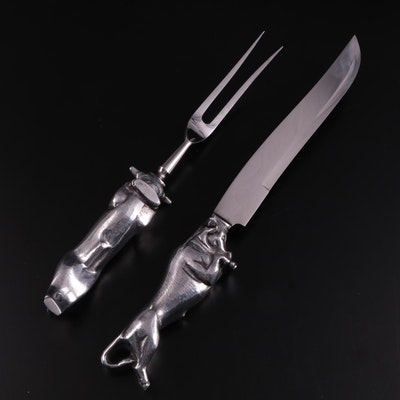 Bruce Fox Hand Forged Chrome Steel Bull Figural Carving Set