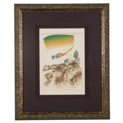 """Oded Feingersh Hand-Colored Etching """"Hovering Bird,"""" 1994"""