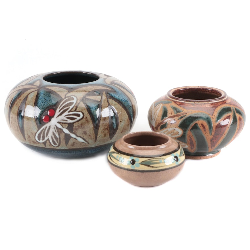 Parsley Pottery Hand Thrown Ikebana Earthenware Vases and Pride Craft Bowl
