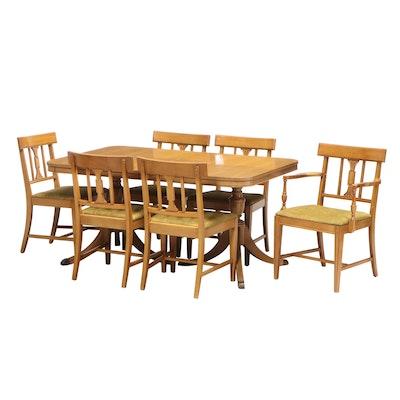 Bernhardt Furniture Hepplewhite Style Blonde Mahogany Seven-Piece Dining Set