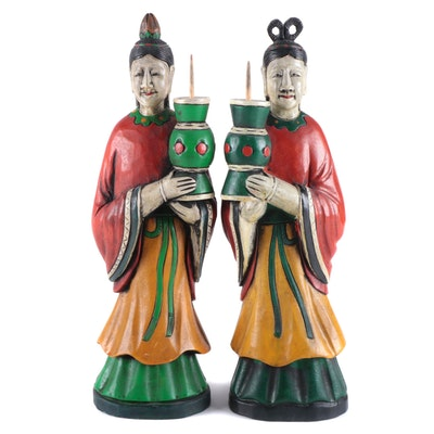 Korean Hand-Carved Polychrome Figures of Women, Late 20th Century