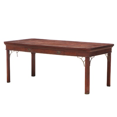 Myrtle Desk George III Style Burl Wood and Mahogany Writing Table, 1980s