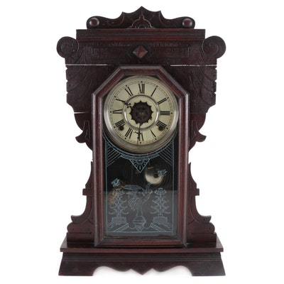 Victorian Waterbury Co. Walnut Gingerbread Mantel Clock, Late 19th Century