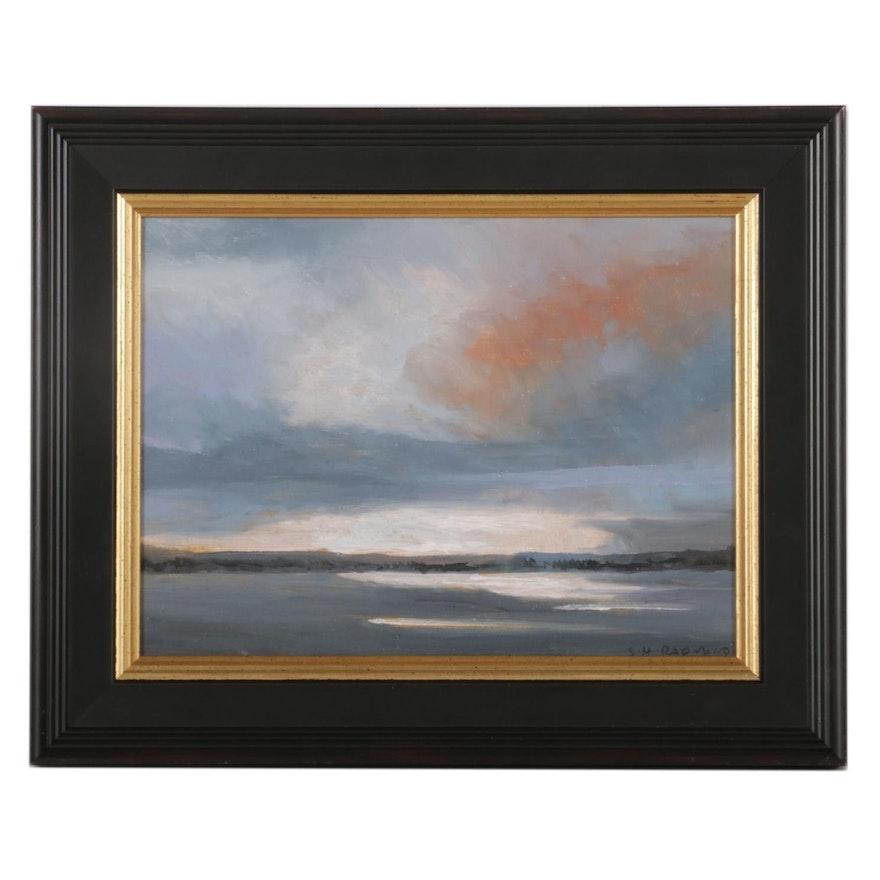 Sulmaz H. Radvand Winter Lake Landscape Oil Painting, 2021