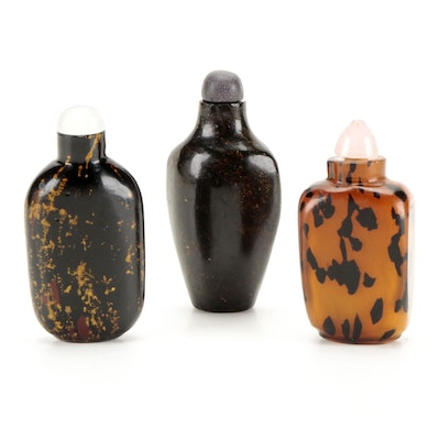 Chinese Carved Glass, Resin, and Stone Snuff Bottles