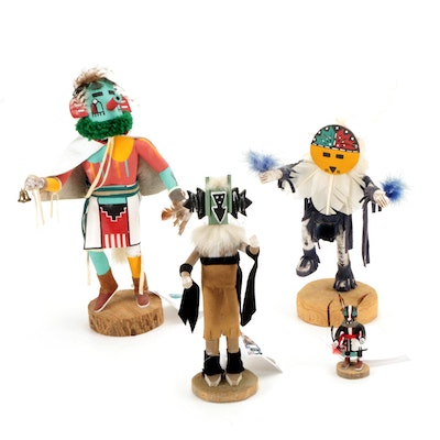 """Handmade Navajo """"Morning Singer"""", """"Crow Mother"""", and Other Kachina Dolls"""