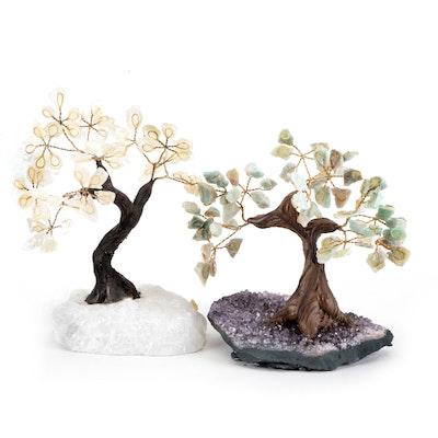 Quartz and Amethyst Wire Work Bonsai Tree Figurines