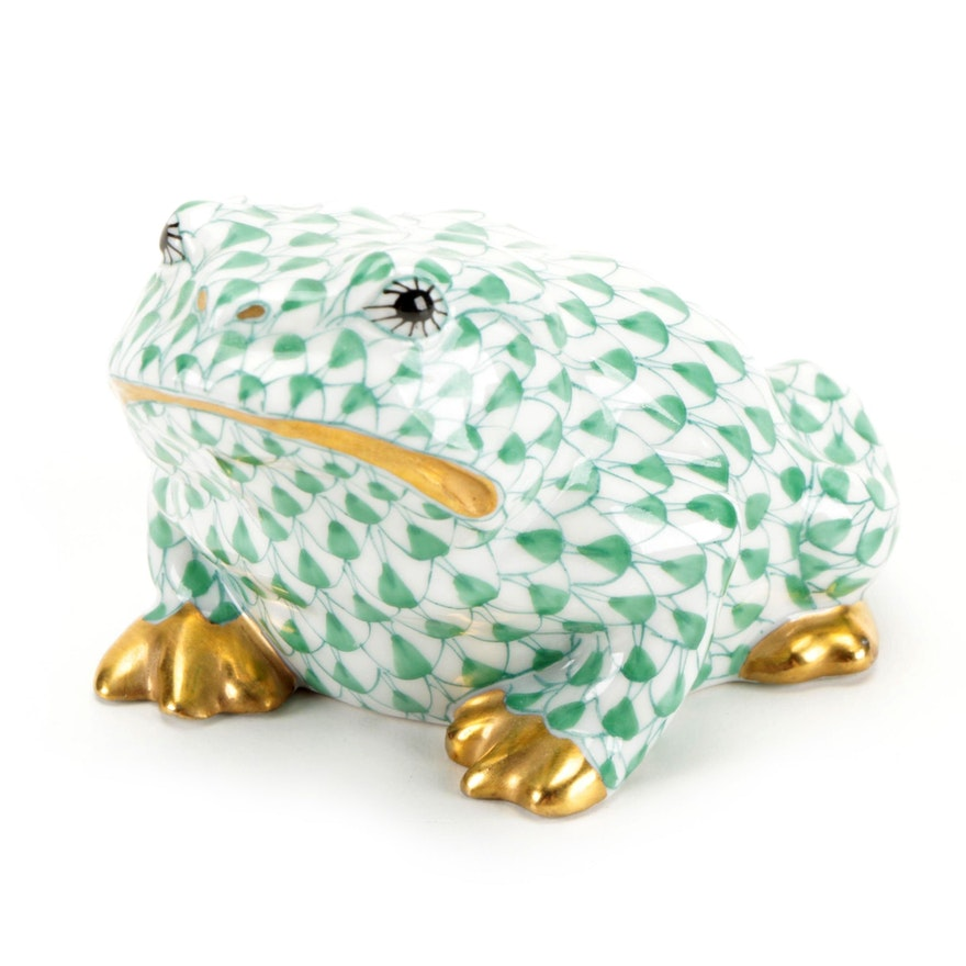 "Herend Green Fishnet with Gold ""Frog"" Porcelain Figurine"