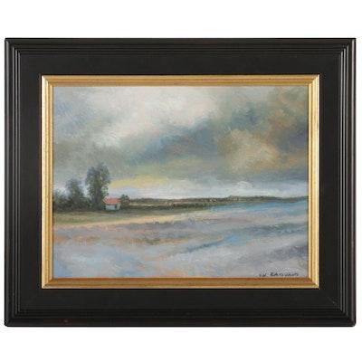 Sulmaz H. Radvand Lake Shore Cottage Oil Painting, 2021