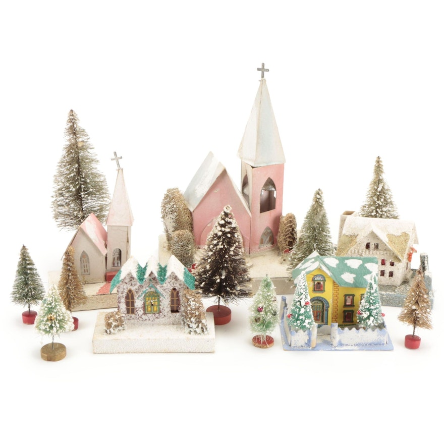 Putz Style Mica Glitter Cardboard Village Houses with Bottle Brush Trees