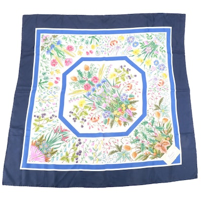 Johnny Was Silk Scarf  in Multi-Color Print with Tassels