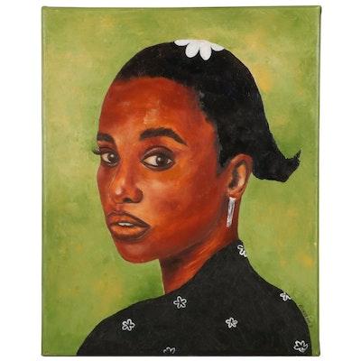"Oluwakemi Omowaire Oil Painting ""New Chapter,"" 21st Century"