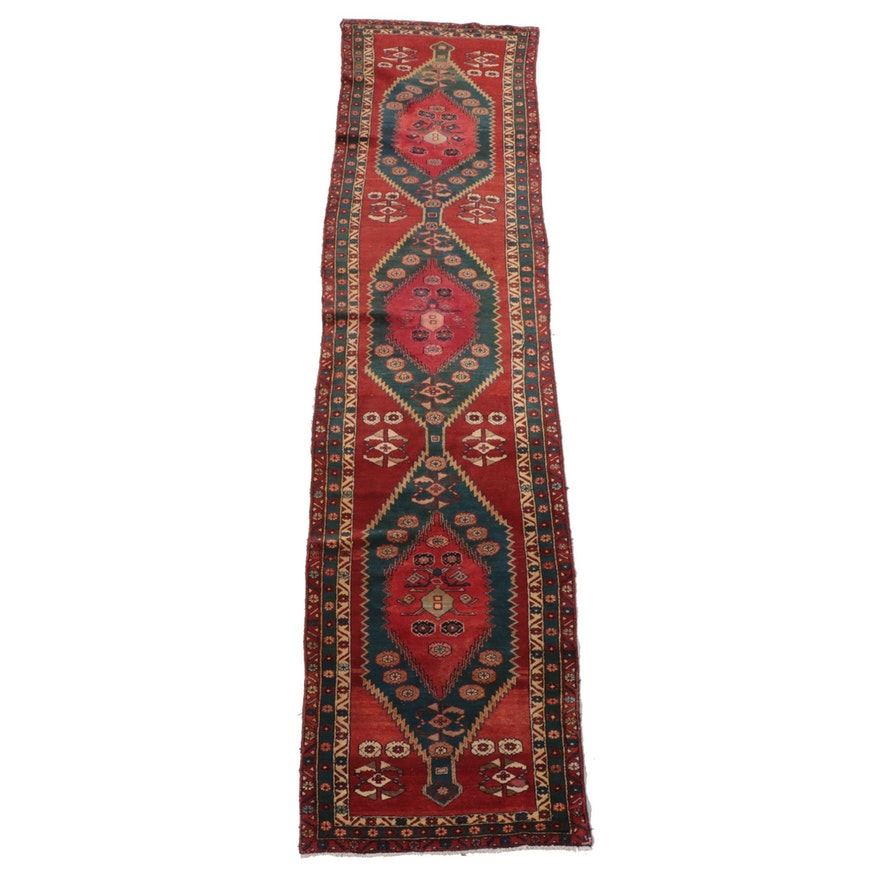 3'2 x 13'3 Hand-Knotted Persian Hamadan Carpet Runner