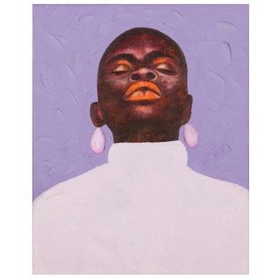 "Oluwakemi Omowaire Oil Painting ""Warrior Woman,"" 21st Century"