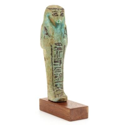 Egyptian Glazed Faience Ushabti on Stand