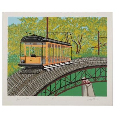 "Andy Flanigan Folk Art Serigraph ""Summer Car,"" Late 20th Century"