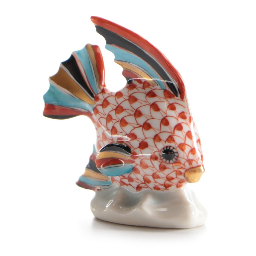 """Herend Rust Fishnet with Gold """"Sailing Fish"""" Porcelain Figurine, Late 20th C."""