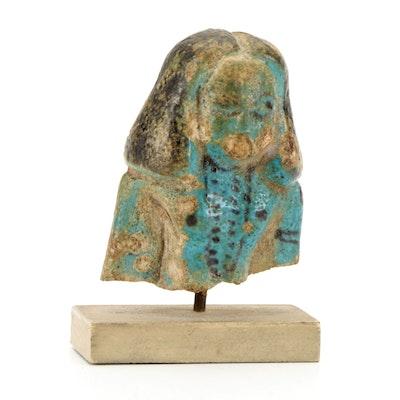 Egyptian Glazed Faience Ushabti Bust on Stand