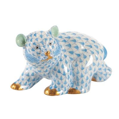 "Herend Blue Fishnet ""Baby Bear Walking"" Porcelain Figurine, August 1992"