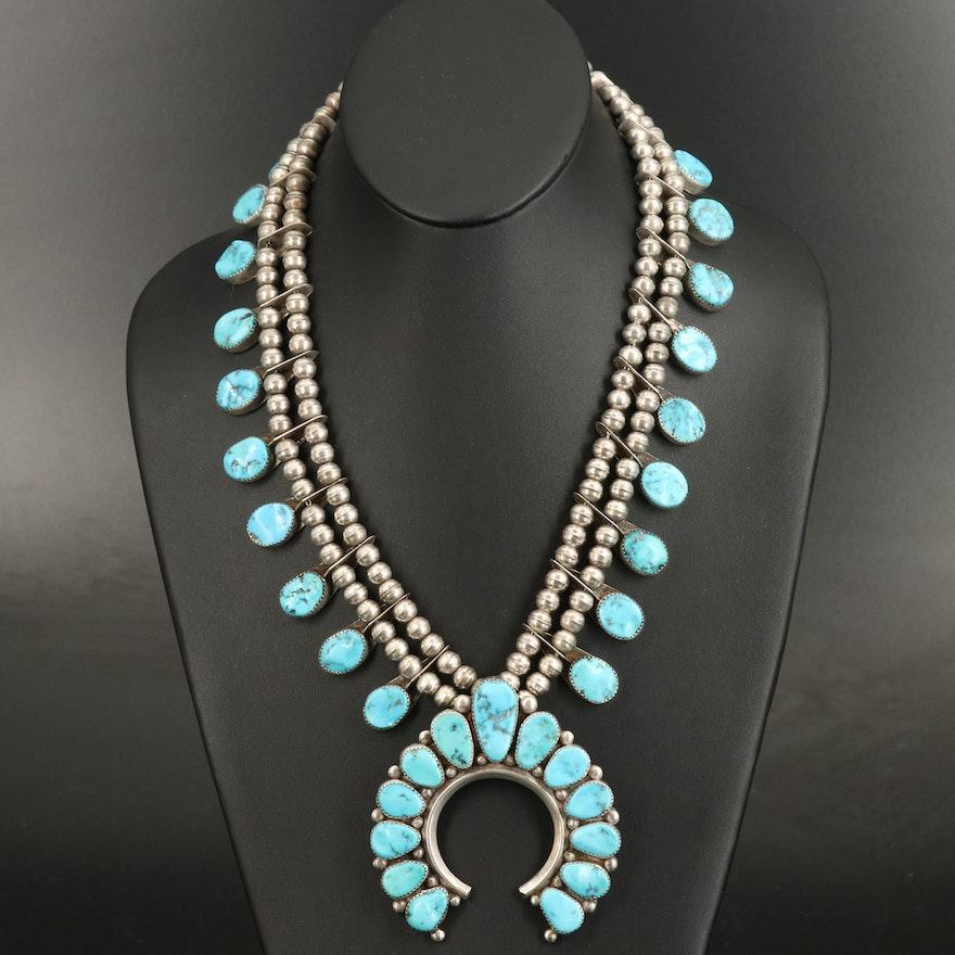 Roanhorse Family Navajo Diné Sterling Turquoise Naja Necklace