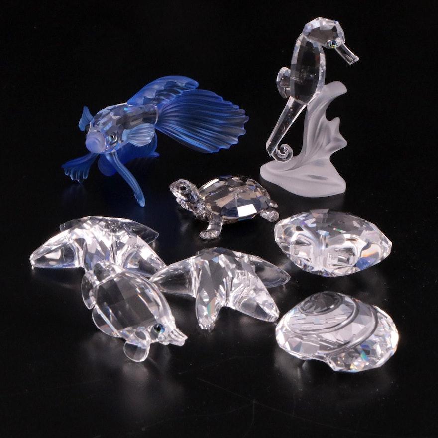 "Swarovski ""Siamese Fighting Fish"" and Other Crystal Aquatic Animal Figurines"