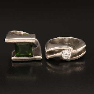 950 Silver Rings Including Glass and Cubic Zirconia