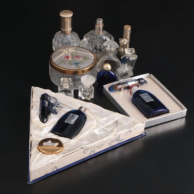 """Bourjois """"Evening In Paris"""" and Other Perfume Bottles and Powder Jar"""