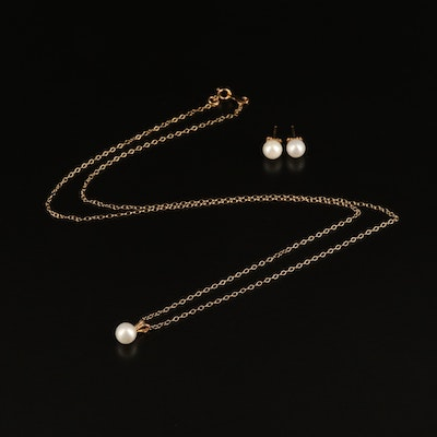 10K Pearl Necklace and Stud Earring Set