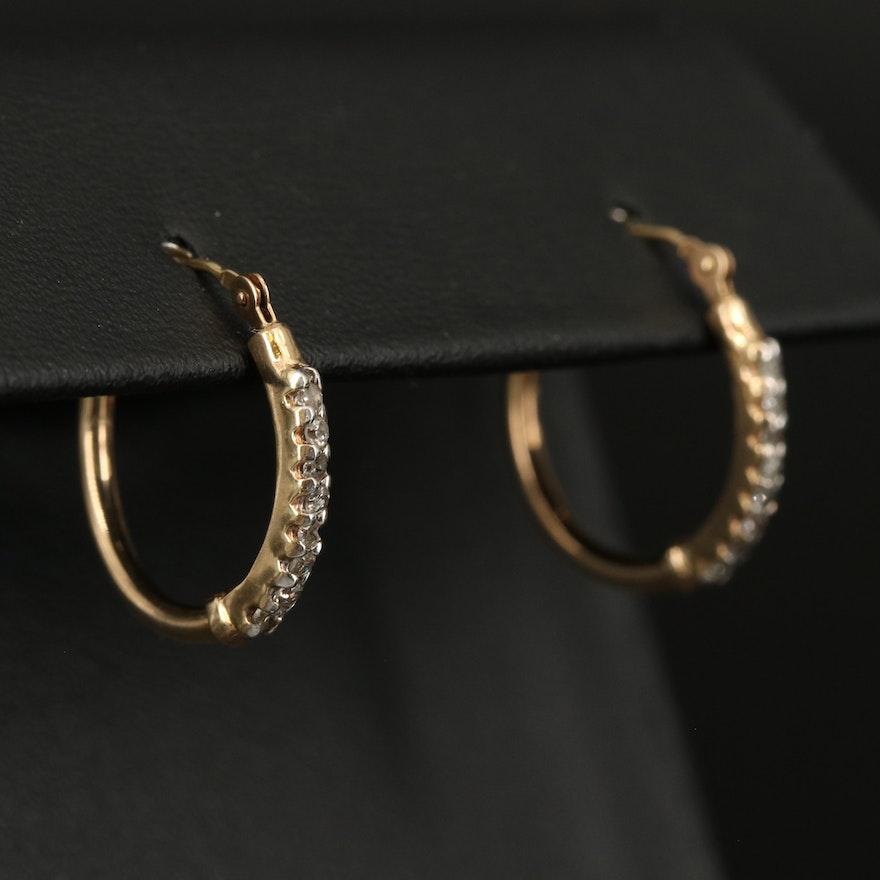 10K and 14K 0.20 CTW Diamond Hoop Earrings