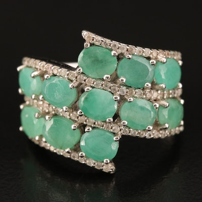 Sterling Emerald and Zircon Band