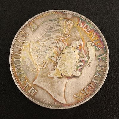 1855 Bavaria 2-Gulden Silver Coin