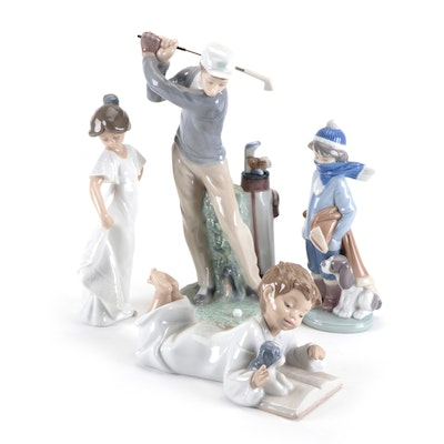 """Lladró """"Golfer"""" Porcelain Figurine with Other Lladró and Nao Figurines"""