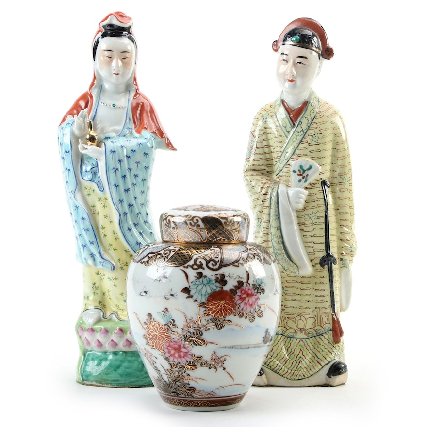 Chinese Porcelain Man and Woman Figurines with Japanese Hand-Painted Tea Caddy
