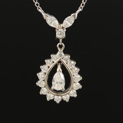 14K 1.08 Diamond Teardrop Necklace