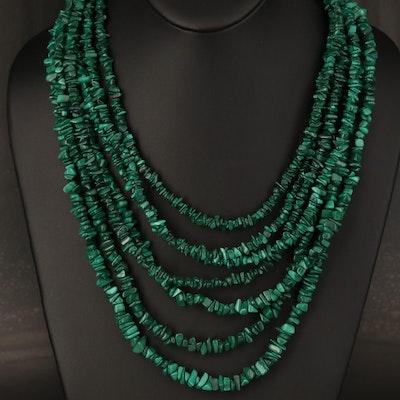 Desert Rose Trading Graduated Multi-Strand Malachite Necklace