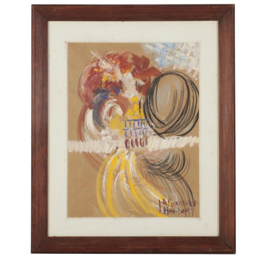 I. Alexander Herbert Abstract Gouache Painting