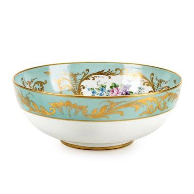 Halga of Paris Hand-Painted Porcelain Centerpiece Bowl, Early 20th Century