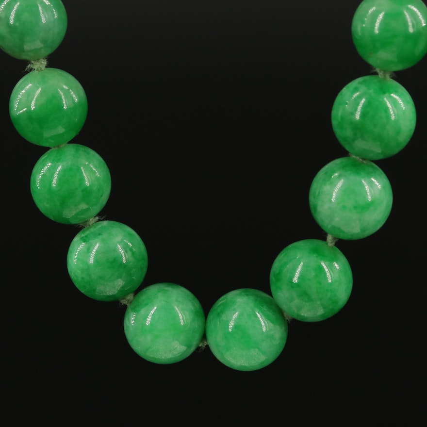 Vintage Beaded Jadeite Necklace with Diamond Accented 14K Clasp