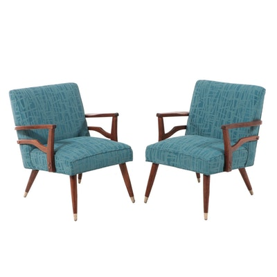 Pair of Mid Century Modern Walnut Armchairs in Luna Fabric
