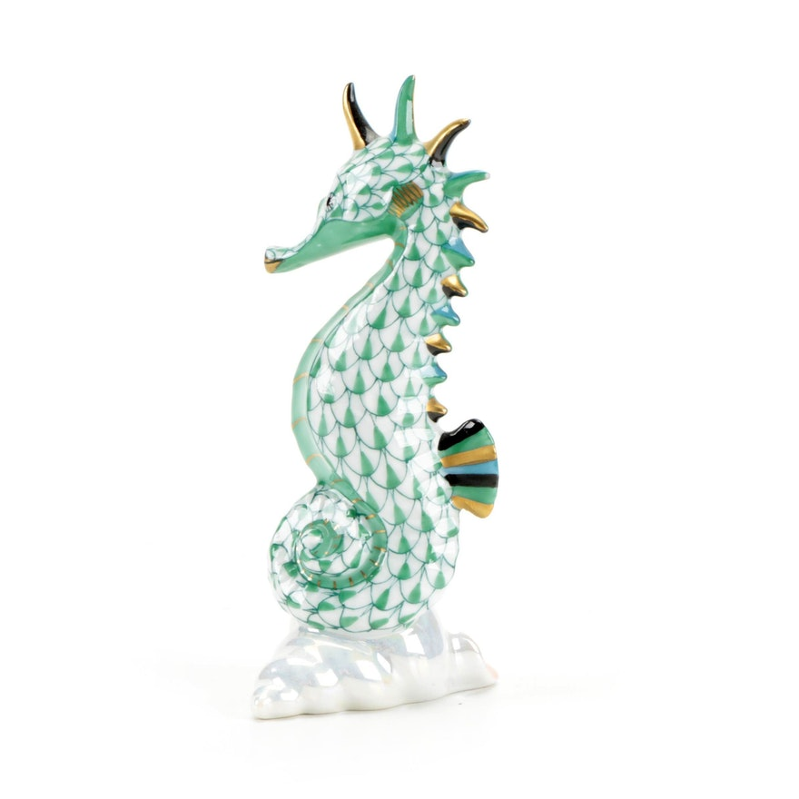 """Herend Green Fishnet and Gold """"Seahorse"""" Porcelain Figurine"""