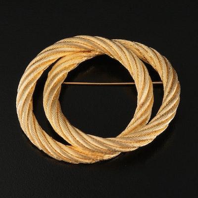 Christian Dior Interlocking Rope Circles Brooch