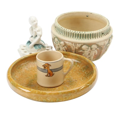 """Roseville Pottery """"Donatello"""" Hanging Planter and Mug with Weller Bowl and Frog"""